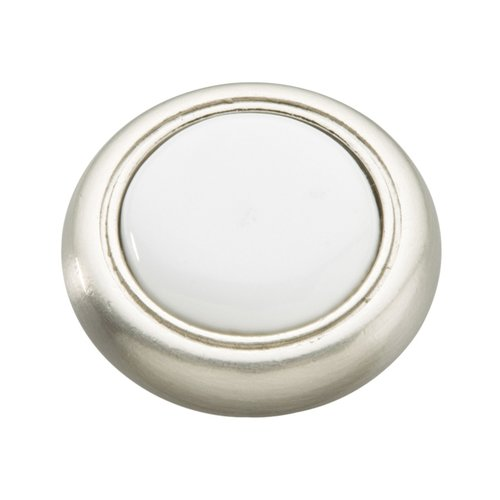 Hickory Hardware Tranquility 1-1/4 Inch Diameter Satin Nickel with White Cabinet Knob P710-SNW