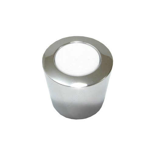 Black & White 15/16 Inch Diameter Chrome,White Cabinet Knob <small>(#21721714030)</small>