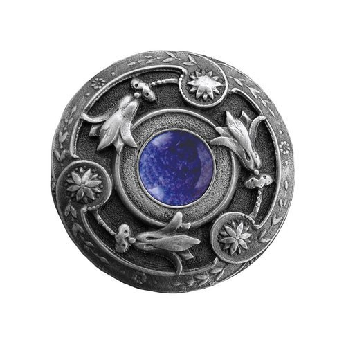 Jewel 1-1/4 Inch Diameter Antique Pewter Cabinet Knob <small>(#NHK-161-AP-BS)</small>