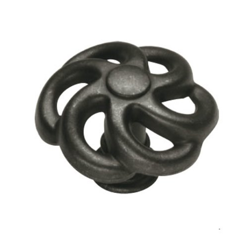 Hickory Hardware Charleston Blacksmith 1-1/2 Inch Diameter Black Iron Cabinet Knob PA1311-BI