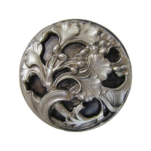 Notting Hill Floral 1-3/8 Inch Diameter Satin Nickel Cabinet Knob NHK-102-SN