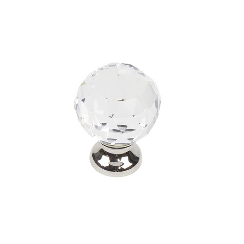 "Glamour Knob 1-1/8"" Dia Transparent W/ Polished Nickel Base <small>(#18905-14CS)</small>"