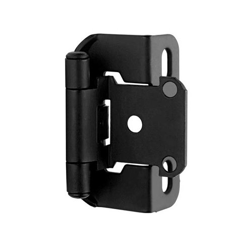 Partial Wrap 1/2 inch Overlay Hinge Flat Black - Per Pair <small>(#BPR7550FB)</small>