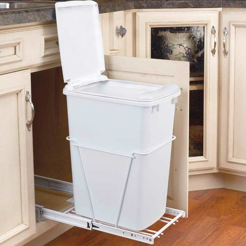 Rev-A-Shelf Single Trash Pullout With Lid 50 Quart -White RV-12PB-50-S