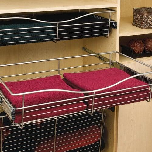 Rev-A-Shelf Pullout Wire Basket 30 inch W x 16 inch D x 7 inch H CB-301607SN