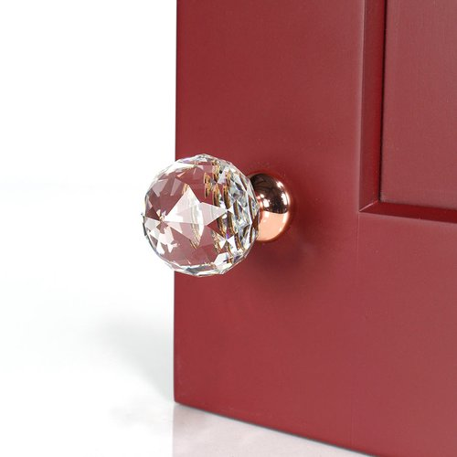 Century Hardware Tahoe 1-1/2 Inch Diameter Polished Rose Gold & Crystal Cabinet Knob 18905-RGCRY