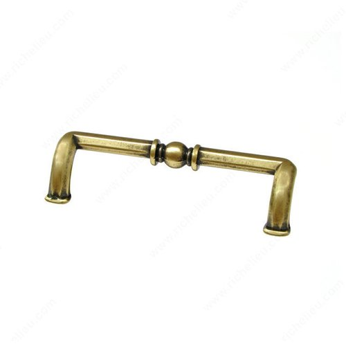 Richelieu Povera 3-3/4 Inch Center to Center Floral Brass Cabinet Pull 49496167