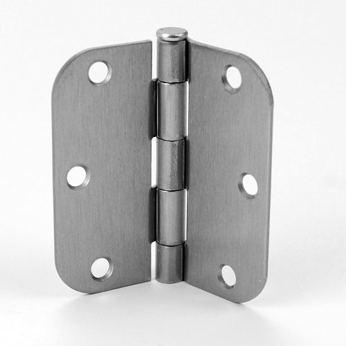 Don-Jo 1/4 inch Radius Door Hinge 3-1/2 inch x 3-1/2 inch Satin Nickel RPB73535-14-646