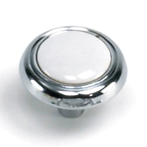 Laurey Hardware First Family 1-1/4 Inch Diameter White/Polished Chrome Cabinet Knob 15427
