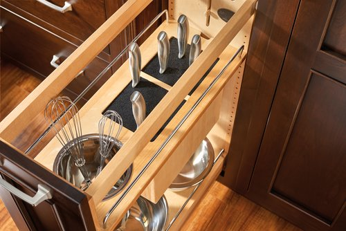 Rev-A-Shelf 448KB 8 inch Base Organizer with Knife Block, Bins and Shelves Maple 448KB-BCSC-8C