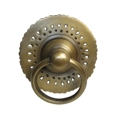 Gado Gado Ring Pulls 3-1/8 Inch Diameter Unlacquered Antique Brass Cabinet Ring Pull HRP1010
