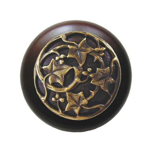 Notting Hill Leaves 1-1/2 Inch Diameter Antique Brass Cabinet Knob NHW-715W-AB