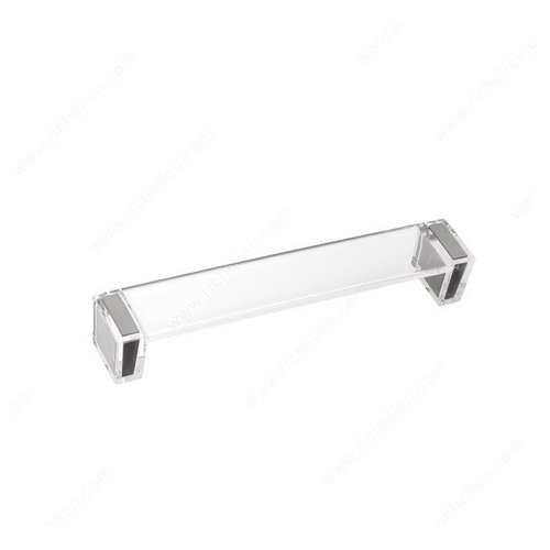 Richelieu Clear 6-5/16 Inch Center to Center Brushed Nickel,Clear Cabinet Pull 2172016019511