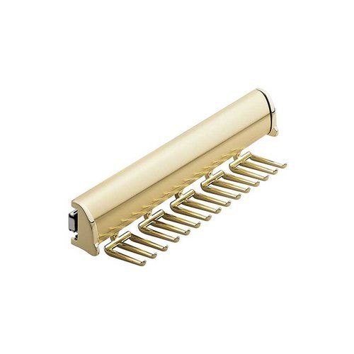 "Hafele Elite Tie Rack Polished Brass 11-7/8"" L - 15 Hook 807.67.801"