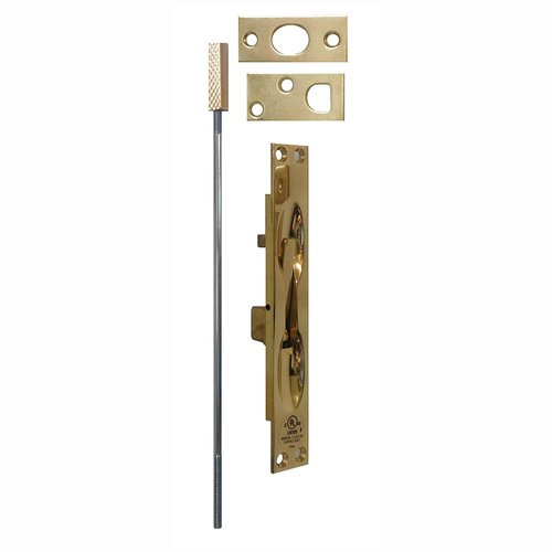 Don-Jo UL Rated Flush Bolt For Metal Doors Polished Brass 1555-605