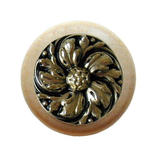 Notting Hill English Garden 1-1/2 Inch Diameter Brite Brass Cabinet Knob NHW-714N-BB