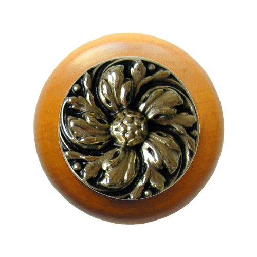 Notting Hill English Garden 1-1/2 Inch Diameter Brite Brass Cabinet Knob NHW-714M-BB