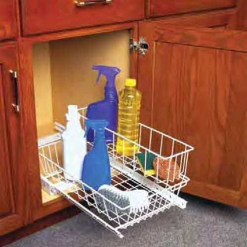 "Knape and Vogt Under-sink Basket 11""W- White USB11-W"
