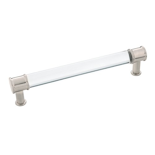 """Hickory Hardware Midway Pull 6-5/16"""" C/C Crysacrylic with Satin Nickel P3702-CASN"""