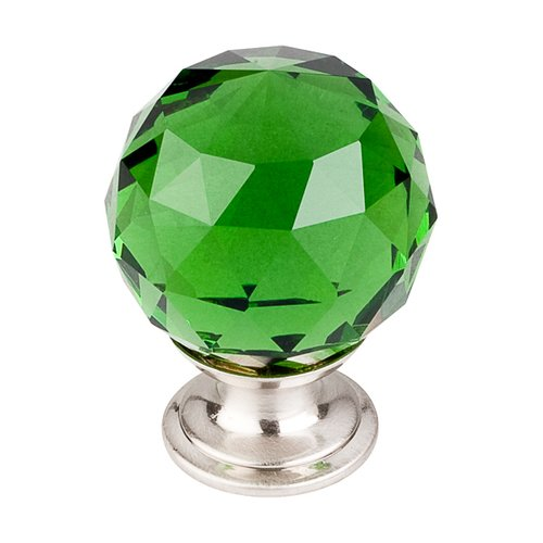 Top Knobs Crystal 1-3/8 Inch Diameter Green Crystal Cabinet Knob TK120BSN