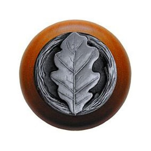 Notting Hill Leaves 1-1/2 Inch Diameter Antique Pewter Cabinet Knob NHW-744C-AP