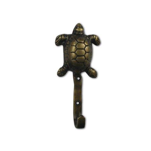 Gado Gado Turtle Hook with Loose Nails 2-1/4 inch L x 1 inch W - Antique Brass HHK7078