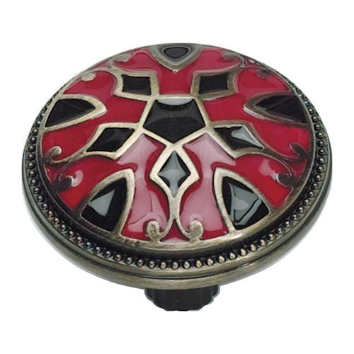 Canterbury 1-1/2 Inch Diameter Red And Black Cabinet Knob <small>(#3186-R-B)</small>