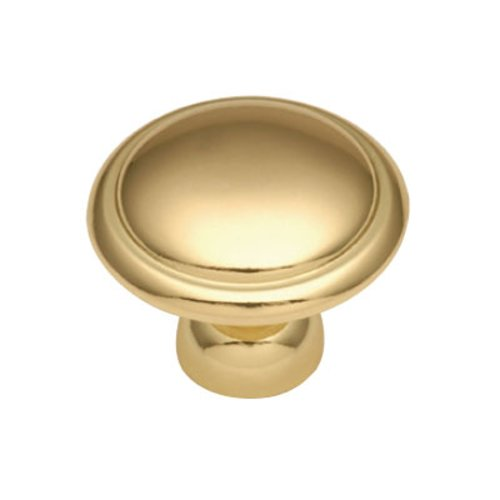 Hickory Hardware Conquest 1-3/8 Inch Diameter Polished Brass Cabinet Knob P14848-3