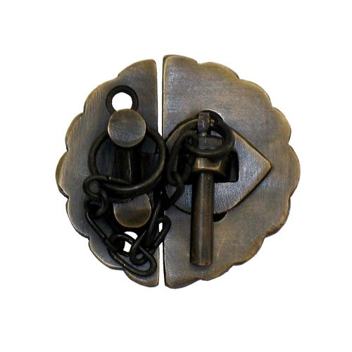 "Round Scalloped Latch with Chain 1-3/4"" Dia - Antique Brass <small>(#HLA1012)</small>"