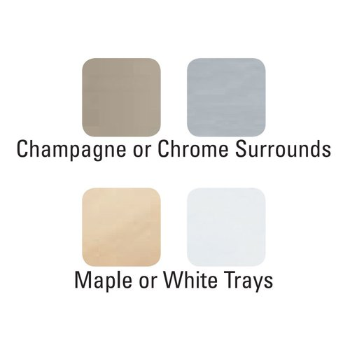 "Kessebohmer Arena Plus Tray Set (2) 14"" Wide Chrome/Maple 546.63.114"