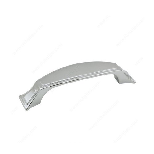 Art Deco 5-1/16 Inch Center to Center Chrome Cabinet Pull <small>(#870128140)</small>