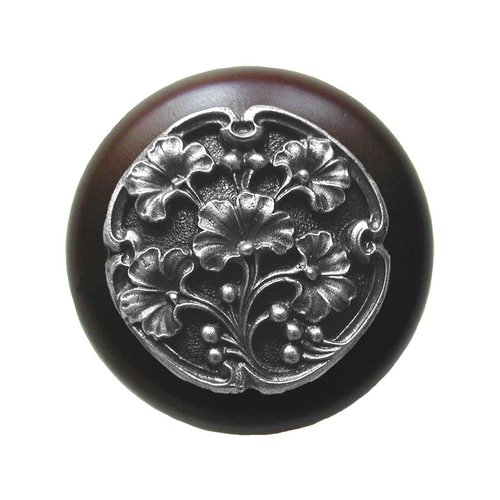 Notting Hill Leaves 1-1/2 Inch Diameter Antique Pewter Cabinet Knob NHW-702W-AP