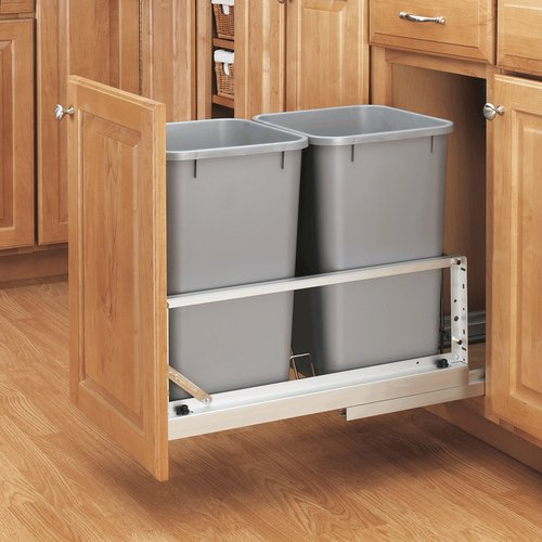 Rev-A-Shelf Double Trash Pullout 27 Quart- Silver 5349-1527DM-217