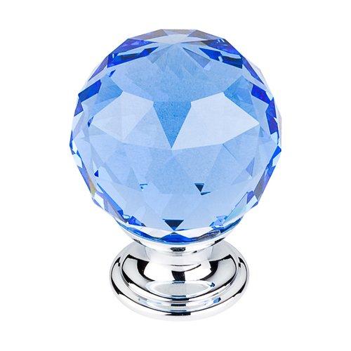 Top Knobs Crystal 1-3/8 Inch Diameter Blue Crystal Cabinet Knob TK124PC