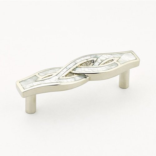 Schaub and Company Arioso 2-1/8 Inch Center to Center Mother of Pearl, Polished Nickel Cabinet Pull 635-MOP/PN