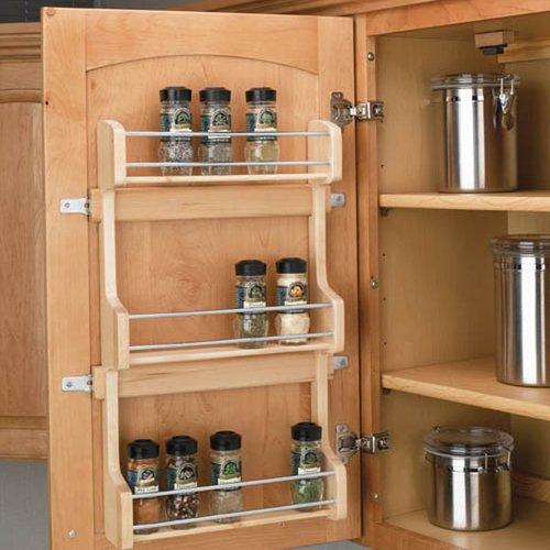 """Rev-A-Shelf Door Mount Spice Rack 18"""" - Wood 4SR-18"""
