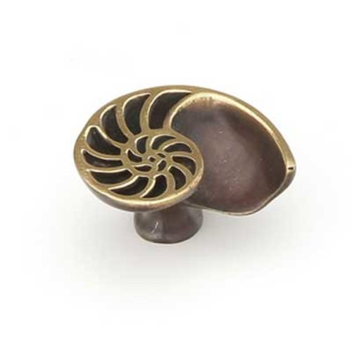 Schaub and Company Neptune 1-1/2 Inch Diameter Polished Brass and Bronze Cabinet Knob 980L-PB/BZ