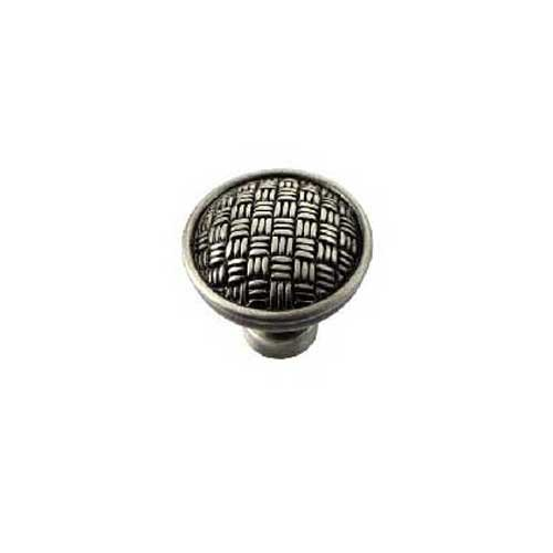 Rattan 1-1/4 Inch Diameter Satin Antique Nickel Cabinet Knob <small>(#14511)</small>