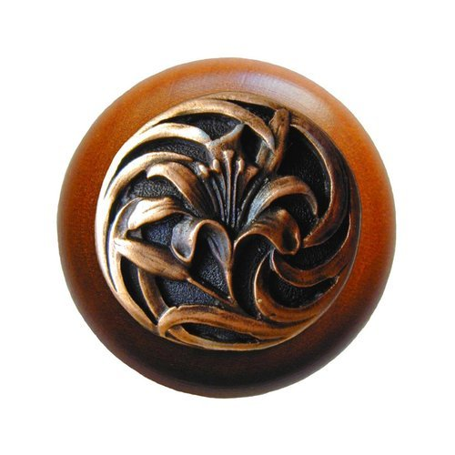 Notting Hill Floral 1-1/2 Inch Diameter Antique Copper Cabinet Knob NHW-703C-AC