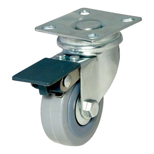 Richelieu Rubber Caster With Swivel And Brake Grey