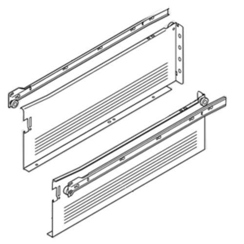 Blum Metabox Slide 6 inch H x 16 inch L- White with Front Fix. Brackets 320H4000C15