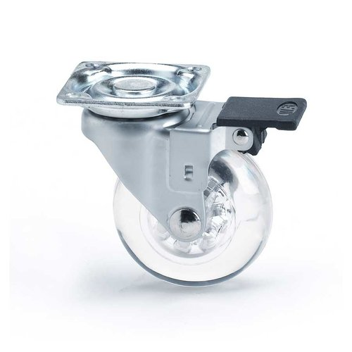 Richelieu Pivoting Furniture Caster With Swivel & Brake- Clear 35010050201