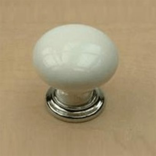 Century Hardware Nordic II 1-3/8 Inch Diameter Polished Chrome/White Cabinet Knob 27417-26WT
