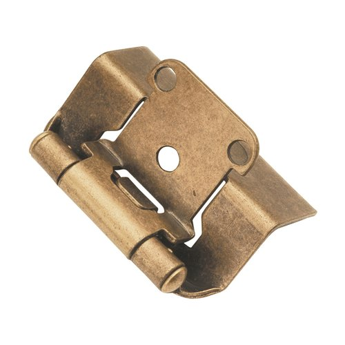 "Hickory Hardware Full Wrap 1/2"" Overlay Hinge Pair Antique Brass P5710F-AB"