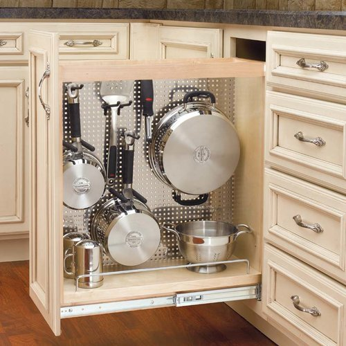 "Rev-A-Shelf Base Organizer with Stainless Steel Panel 8"" -Wood 444-BC-8SS"