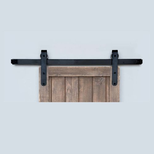 Designer Barn Door Rolling Hardware & 6' Track Smooth Iron <small>(#BH5BI-6)</small>