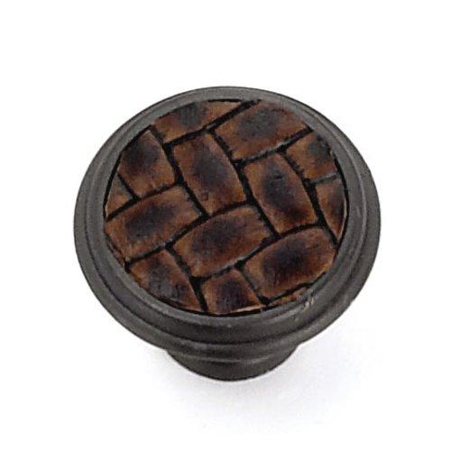 Laurey Hardware Churchill 1-1/8 Inch Diameter Oil Rubbed Bronze/Brown Leather Cabinet Knob 12091