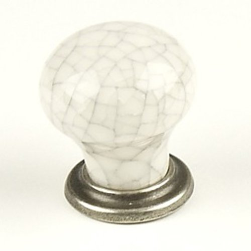 Century Hardware Nordic 1-3/16 Inch Diameter Antique Pewter/Grey Crackle Cabinet Knob 27415-APGY