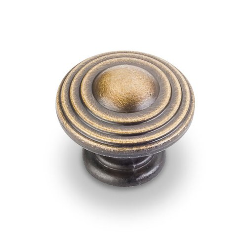 Jeffrey Alexander Bremen 2 1-1/4 Inch Diameter Antique Brushed Satin Brass Cabinet Knob 137ABSB