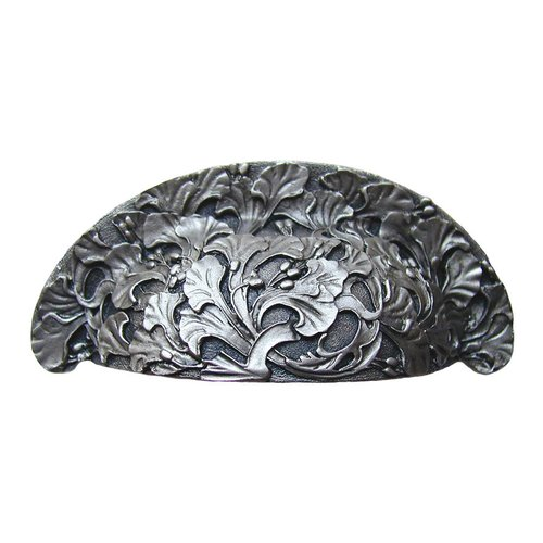 Floral 3 Inch Center to Center Satin Nickel Cabinet Cup Pull <small>(#NHBP-802-SN)</small>
